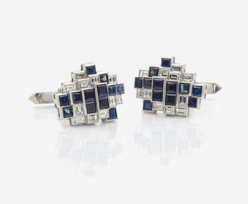 A PAIR OF CUFFLINKS WITH SAPPHIRES AND DIAMONDS - photo 1