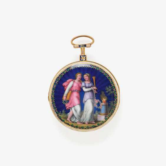 EXQUISITE SPINDLE POCKET WATCH WITH FINE ENAMEL PAINTING - photo 2