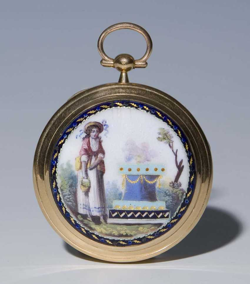 Gold-Enamel-Spindle Pocket Watch. - photo 2