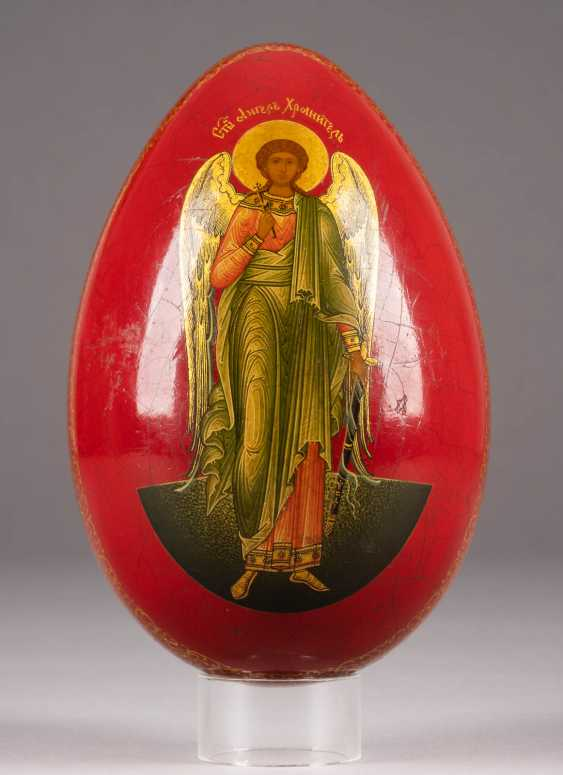 LARGE EASTER EGG WITH THE GUARDIAN ANGEL AND CHRIST'S DESCENT INTO HELL WITH THE LIBERATION OF THE FOREFATHERS Russia - photo 1