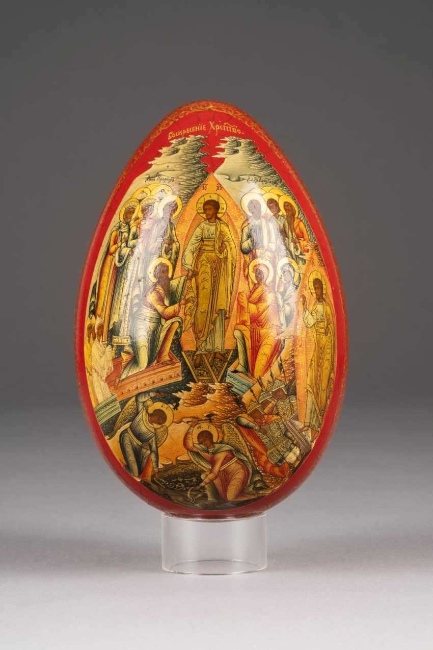 LARGE EASTER EGG WITH THE GUARDIAN ANGEL AND CHRIST'S DESCENT INTO HELL WITH THE LIBERATION OF THE FOREFATHERS Russia - photo 2