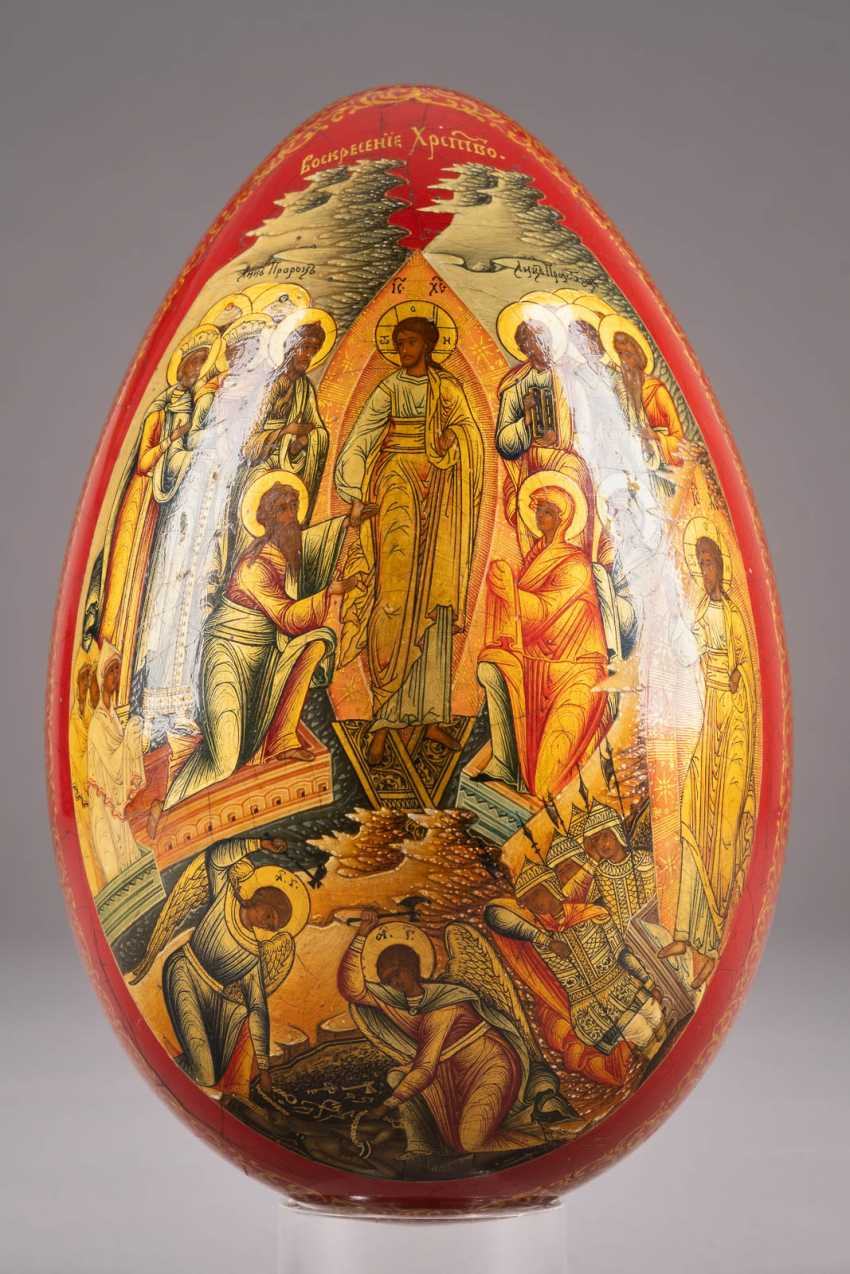 LARGE EASTER EGG WITH THE GUARDIAN ANGEL AND CHRIST'S DESCENT INTO HELL WITH THE LIBERATION OF THE FOREFATHERS Russia - photo 3