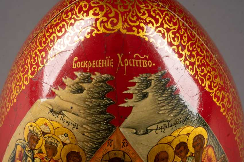 LARGE EASTER EGG WITH THE GUARDIAN ANGEL AND CHRIST'S DESCENT INTO HELL WITH THE LIBERATION OF THE FOREFATHERS Russia - photo 5