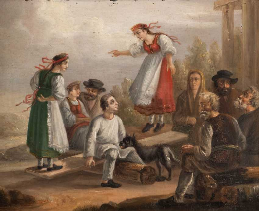 RUSSIAN GENRE PAINTER Active in the 19th century peasant society Oil on metal plate. 29 - photo 1