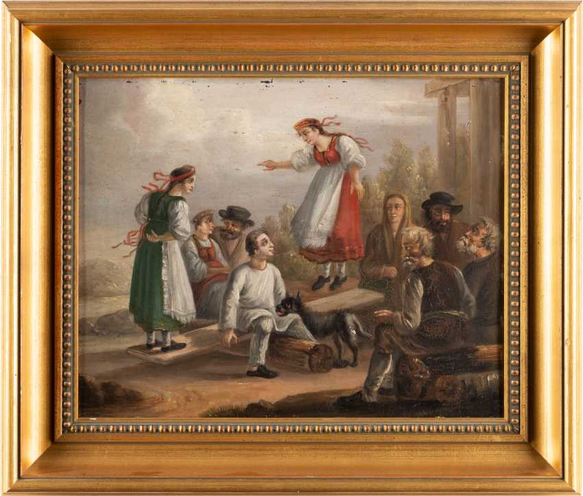 RUSSIAN GENRE PAINTER Active in the 19th century peasant society Oil on metal plate. 29 - photo 2