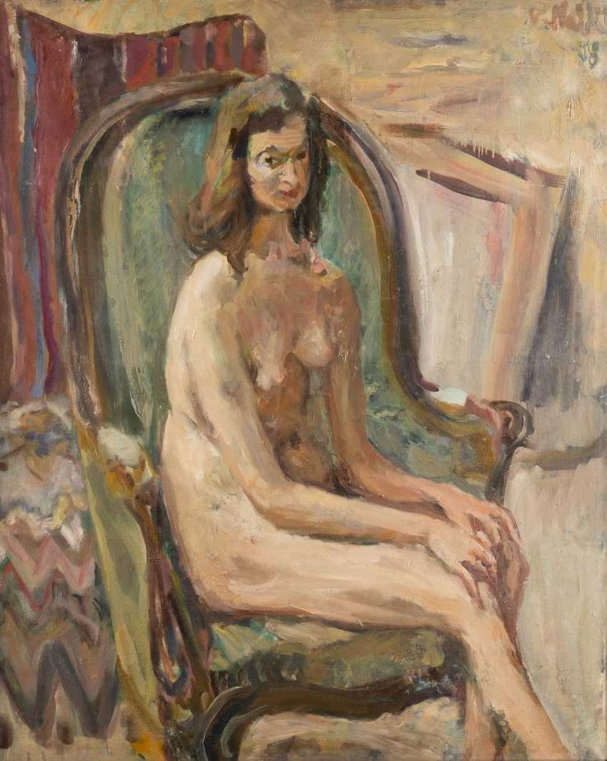 WLADIMIR ISAAKOWITSCH NAIDITSCH 1903 Moscow - 1980 Paris Female nude in an armchair Oil on canvas. 81 cm x 65 cm. Frame. Signed and dated 'V. Naidich (19) 58 '. Min. Color loss. Provenance: MacDougall Auctions - photo 1