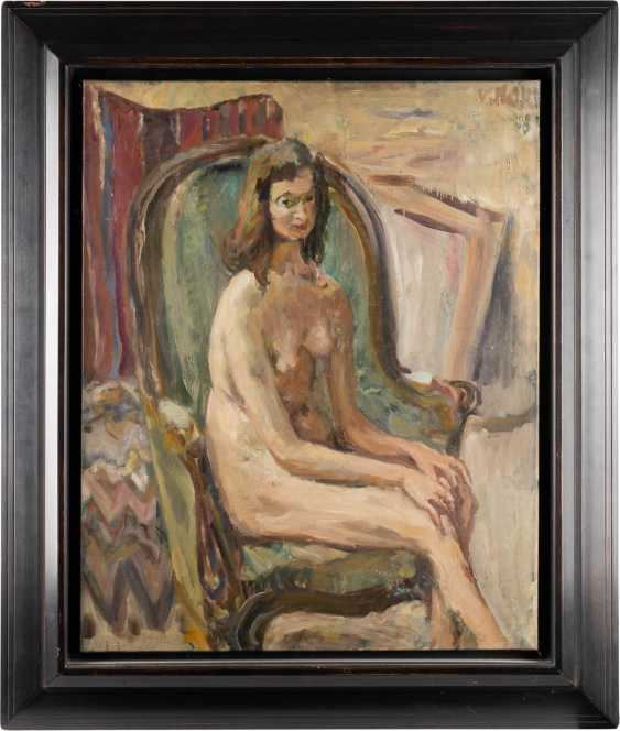 WLADIMIR ISAAKOWITSCH NAIDITSCH 1903 Moscow - 1980 Paris Female nude in an armchair Oil on canvas. 81 cm x 65 cm. Frame. Signed and dated 'V. Naidich (19) 58 '. Min. Color loss. Provenance: MacDougall Auctions - photo 2