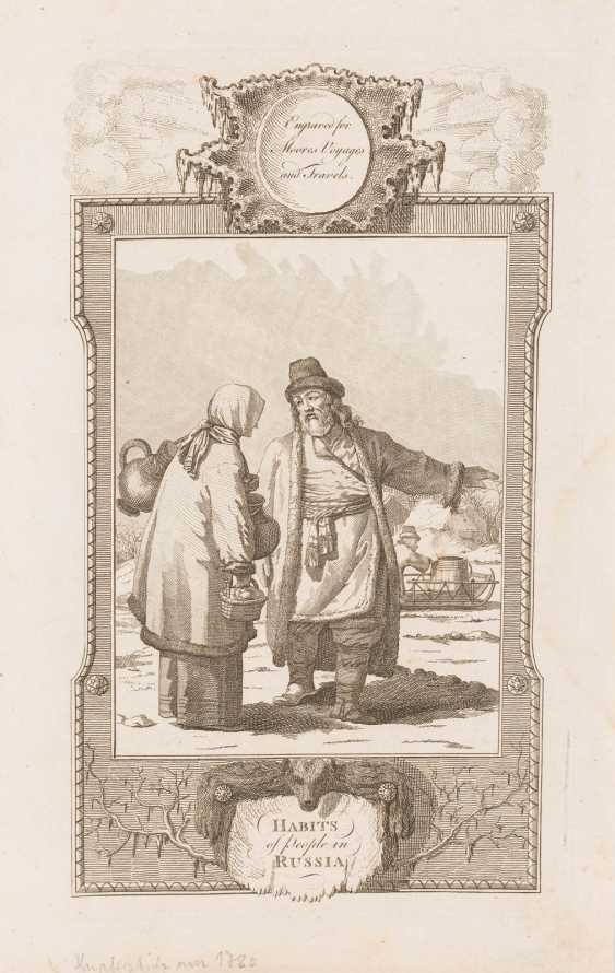 ENGLISH ENGRAVER Active around 1780/1800 'Habits of people in Russia' copperplate engraving on paper. 33 cm x 21 cm. Inscribed and titled in English. Min. Damaged - photo 1