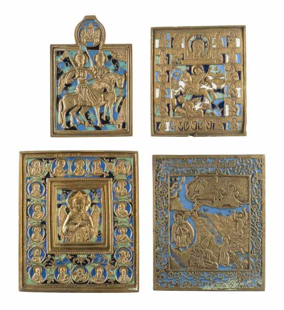 COLLECTION OF FOUR BRONZE ICONS WITH SELECTED SAINTS Russia - photo 1