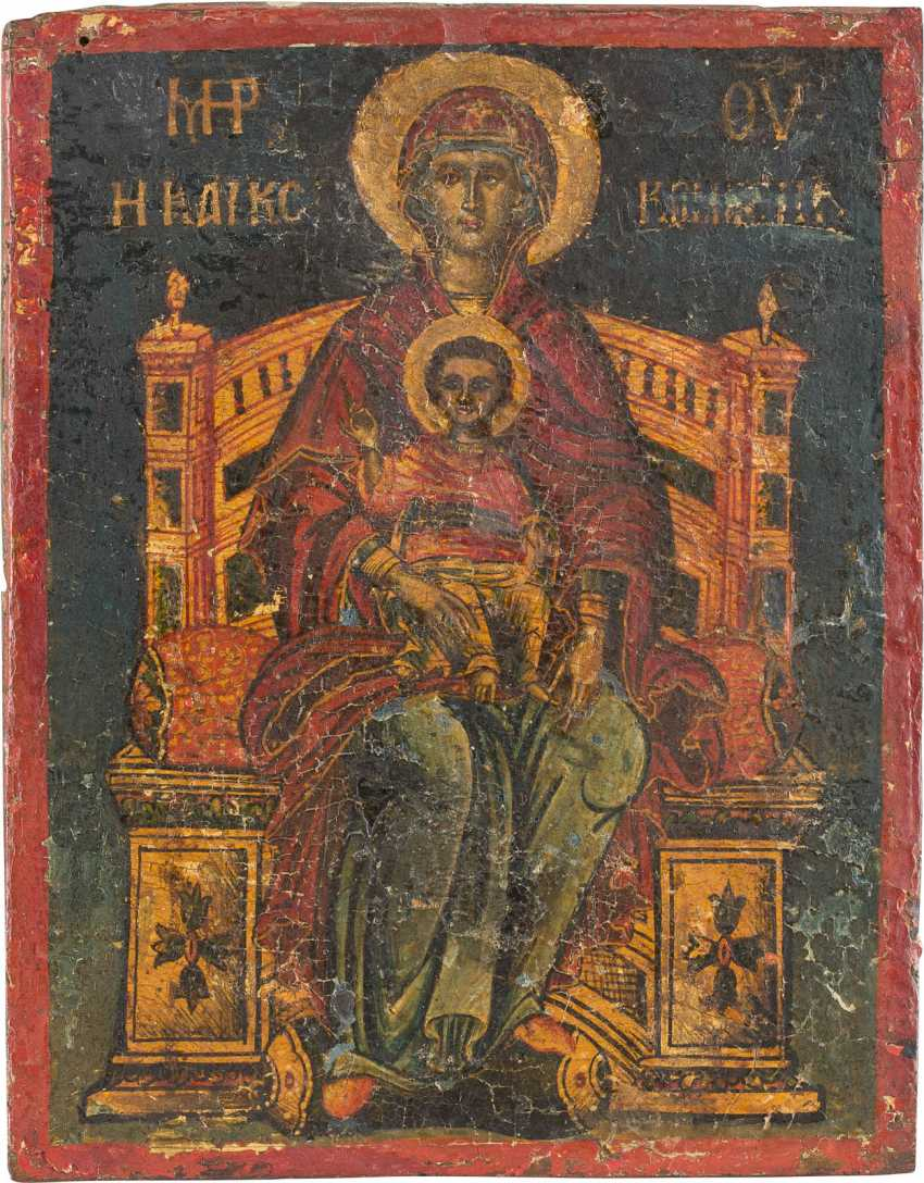 A SMALL ICON WITH THE ENTHRONED MOTHER OF GOD WITH CHRIST Greece - photo 1