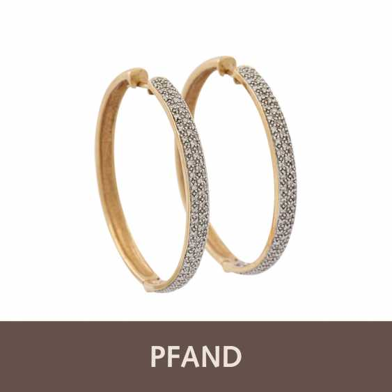 PLANE AUCTION - 1 pair of hoop earrings with diam. Trim, 14K yellow gold. - photo 1