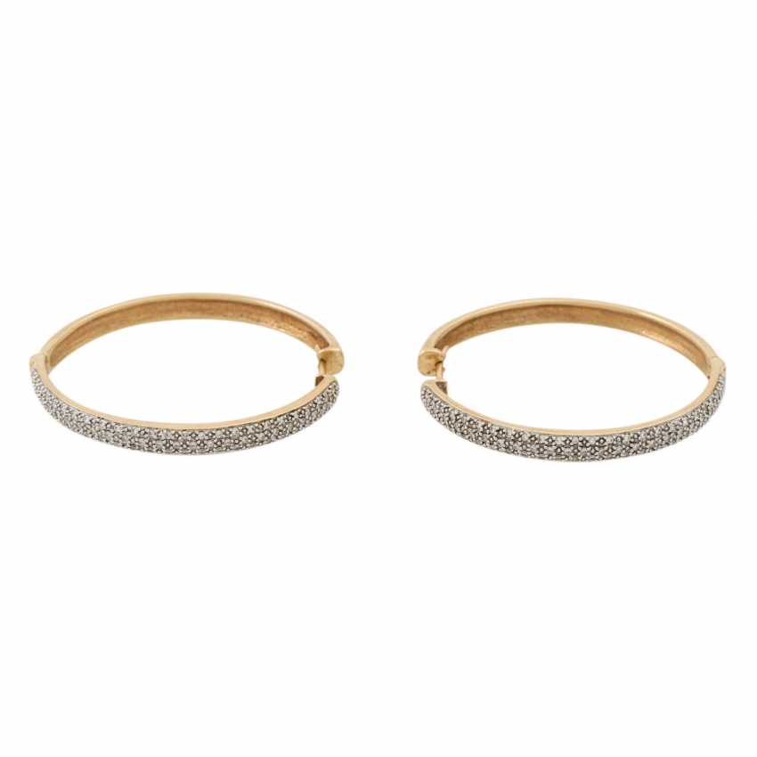 PLANE AUCTION - 1 pair of hoop earrings with diam. Trim, 14K yellow gold. - photo 2
