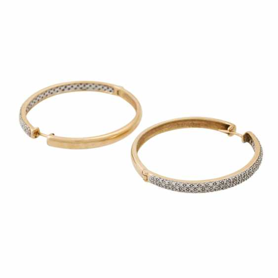 PLANE AUCTION - 1 pair of hoop earrings with diam. Trim, 14K yellow gold. - photo 3