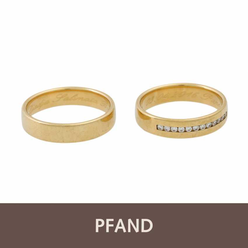 PLEDGE AUCTION - 2 wedding rings, tw. with diamonds, gold - photo 1