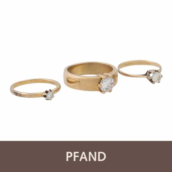 PLAFF AUCTION - 1 ring 18K yellow gold, 1 diamond approx. 1.21ct, TW / VS, - photo 1