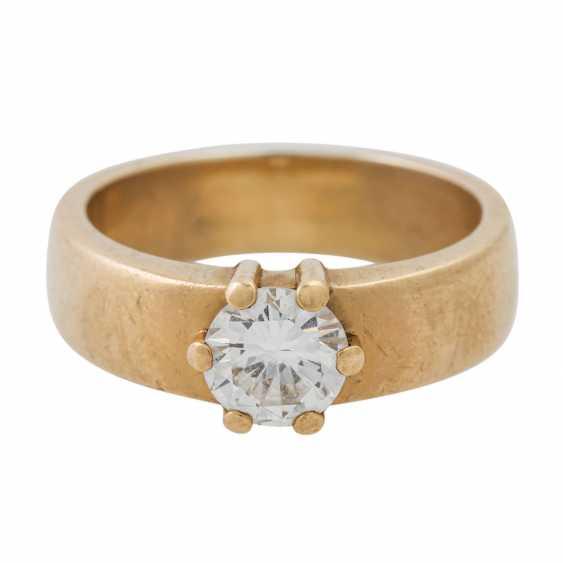 PLAFF AUCTION - 1 ring 18K yellow gold, 1 diamond approx. 1.21ct, TW / VS, - photo 3