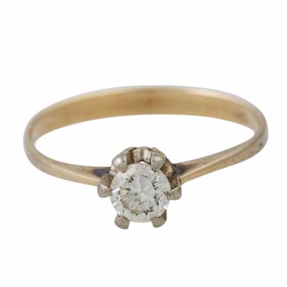 PLAFF AUCTION - 1 ring 18K yellow gold, 1 diamond approx. 1.21ct, TW / VS, - photo 4