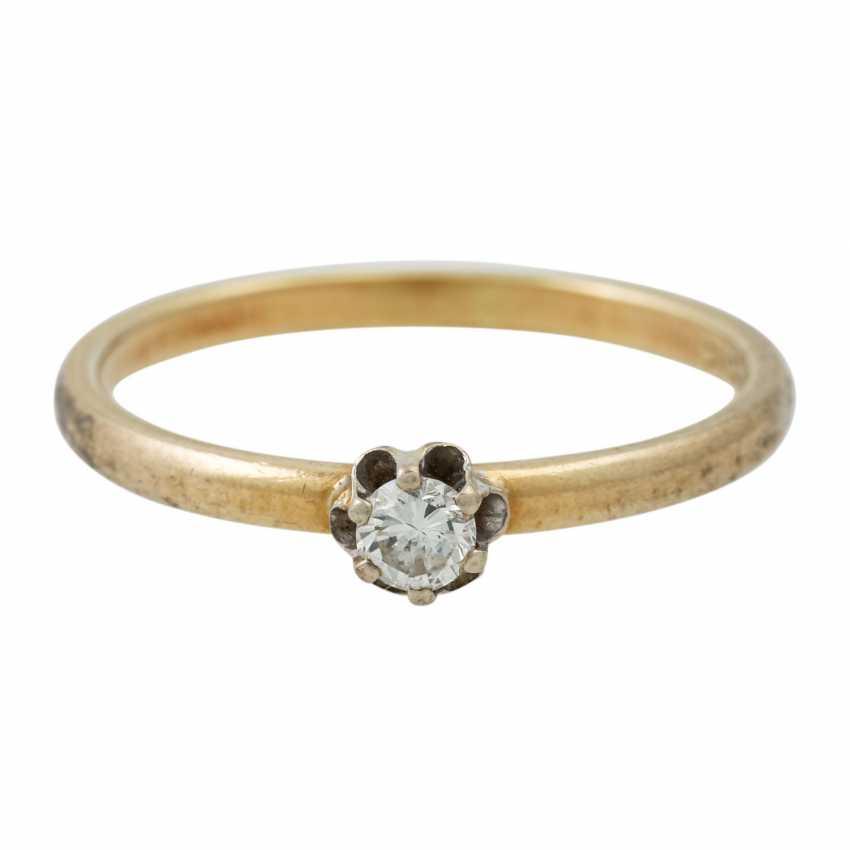 PLAFF AUCTION - 1 ring 18K yellow gold, 1 diamond approx. 1.21ct, TW / VS, - photo 5