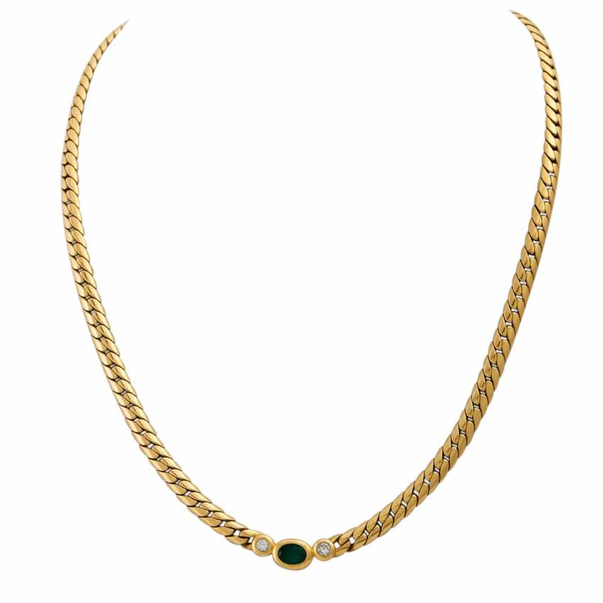 PLAFF AUCTION - 1 WEMPE necklace in 18K yellow gold with emerald - photo 2