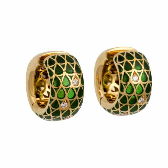 Pair of hoop earrings with green window enamel and diamonds totaling approx. 0.12 ct - photo 1