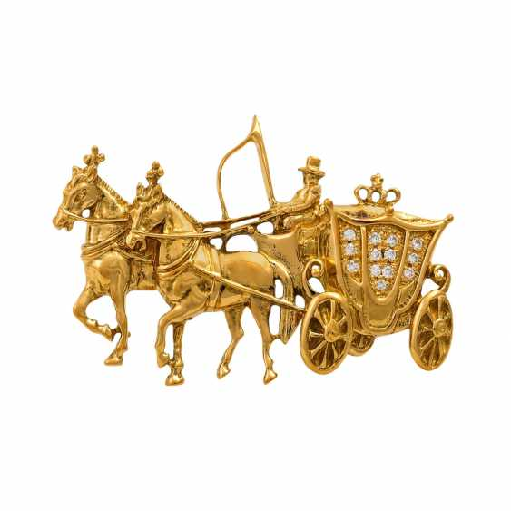 """VICTOR MAYER brooch """"horse-drawn carriage"""", - photo 1"""