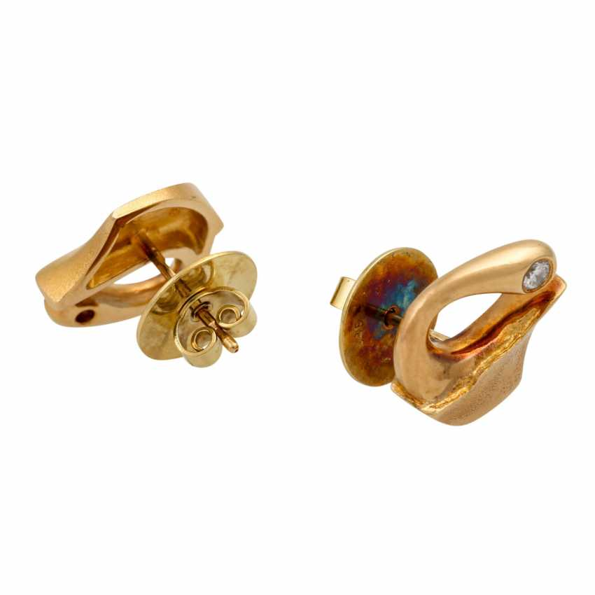 LAPPONIA ear studs with diamonds totaling approx. 0.12 ct (hallmarked), - photo 3