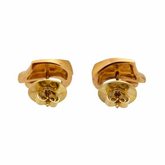 LAPPONIA ear studs with diamonds totaling approx. 0.12 ct (hallmarked), - photo 4