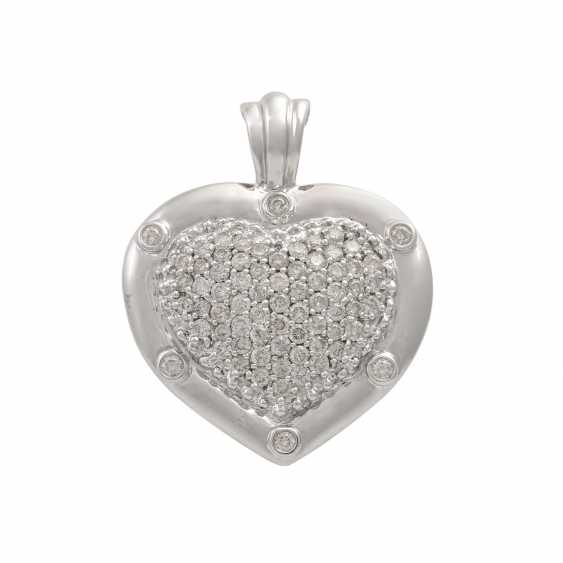 """Clip pendant """"heart"""" with diamonds totaling approx. 2.5 ct, - photo 1"""