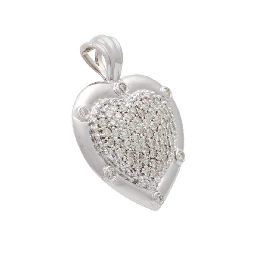 """Clip pendant """"heart"""" with diamonds totaling approx. 2.5 ct, - photo 2"""