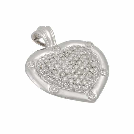 """Clip pendant """"heart"""" with diamonds totaling approx. 2.5 ct, - photo 4"""
