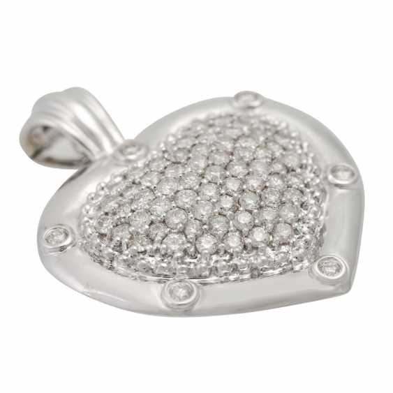 """Clip pendant """"heart"""" with diamonds totaling approx. 2.5 ct, - photo 5"""