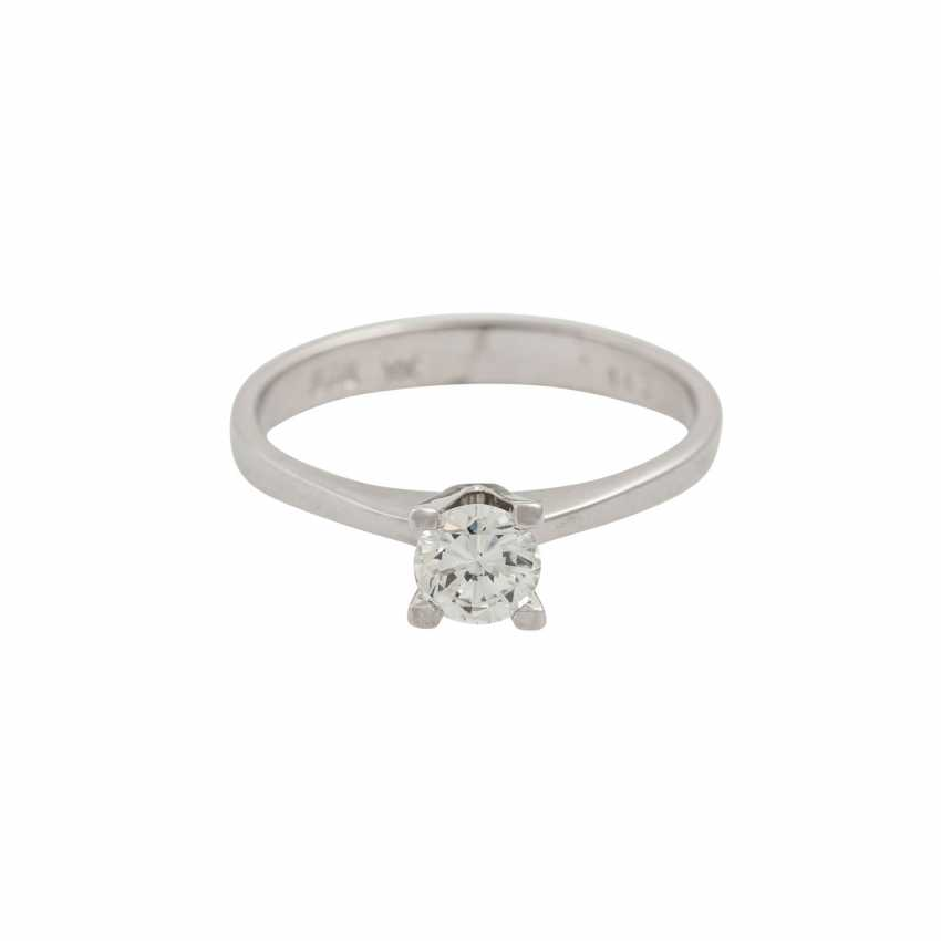 Solitaire ring with brilliant of approx. 0.43 ct (hallmarked), - photo 2