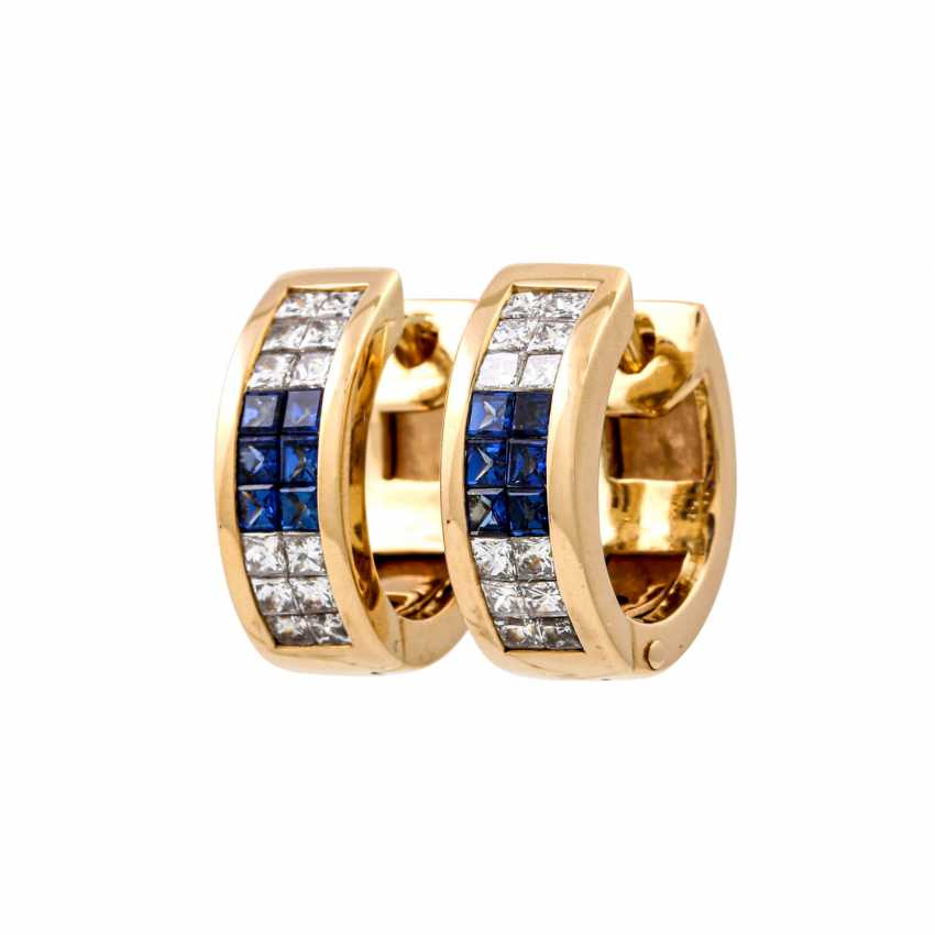 WEMPE pair of hoop earrings with sapphires and diamonds - photo 1