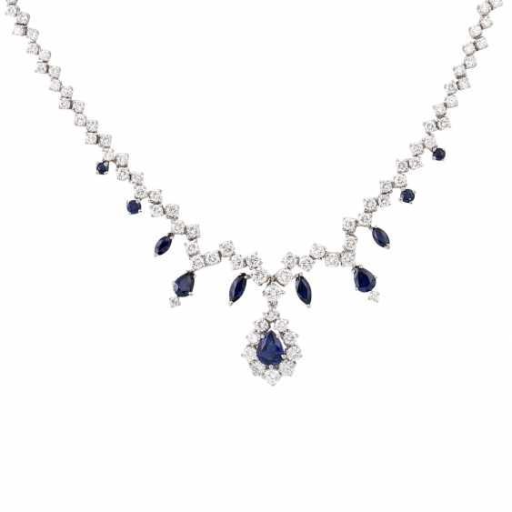 Collier with sapphires and approx. 100 brilliant-cut diamonds totaling approx. 6.05 ct - photo 2