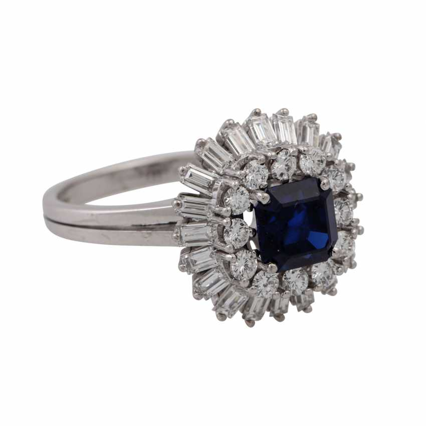 Ring with sapphire surrounded by diamonds and diamond baguettes, - photo 1