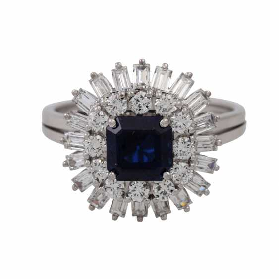 Ring with sapphire surrounded by diamonds and diamond baguettes, - photo 2