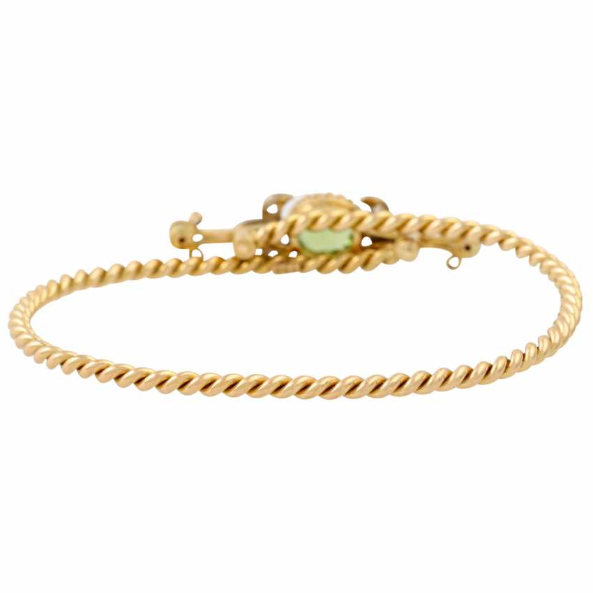 Bangle with oval faceted peridot and 8 diamonds, - photo 4