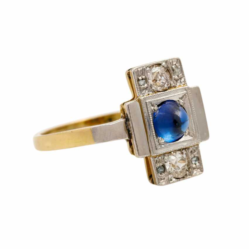 Ring with synthetic sapphire cabochon and diamonds - photo 1
