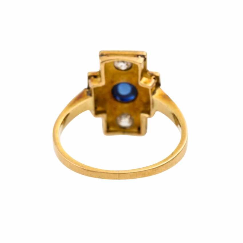 Ring with synthetic sapphire cabochon and diamonds - photo 4