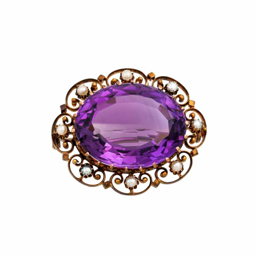 Brooch with faceted amethyst - photo 1