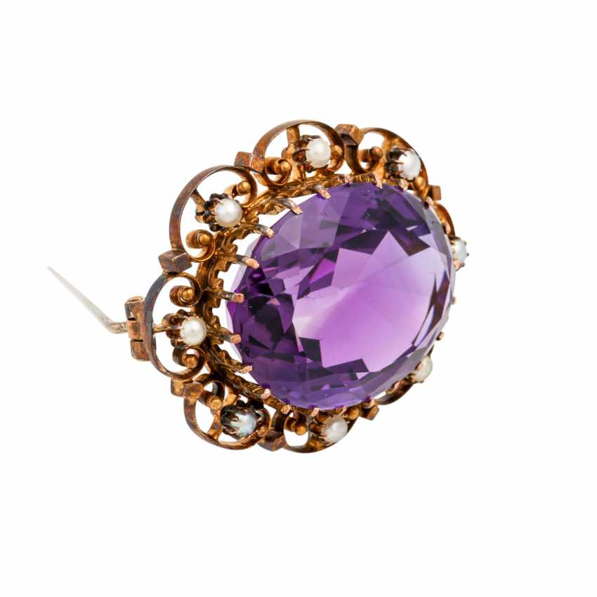 Brooch with faceted amethyst - photo 2
