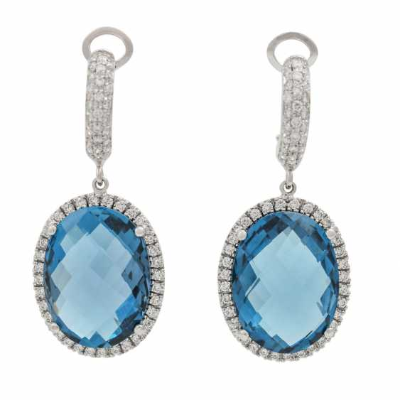 """Earrings with topazes """"London Blue"""" and diamonds, - photo 1"""