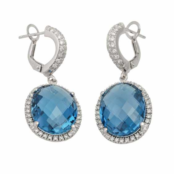"""Earrings with topazes """"London Blue"""" and diamonds, - photo 2"""