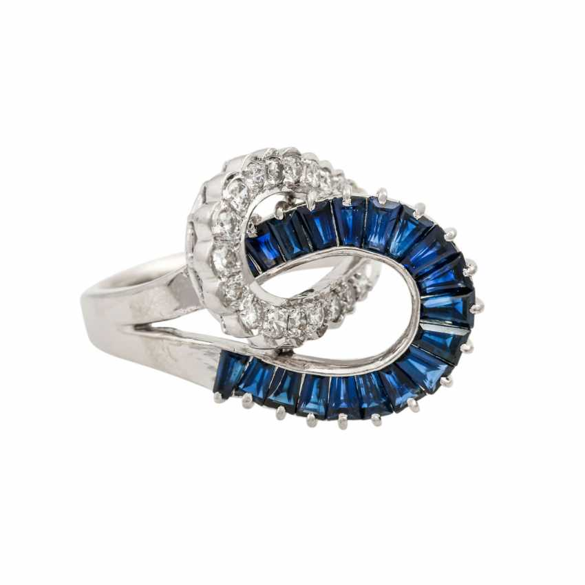 Ring with sapphires and diamonds, - photo 1