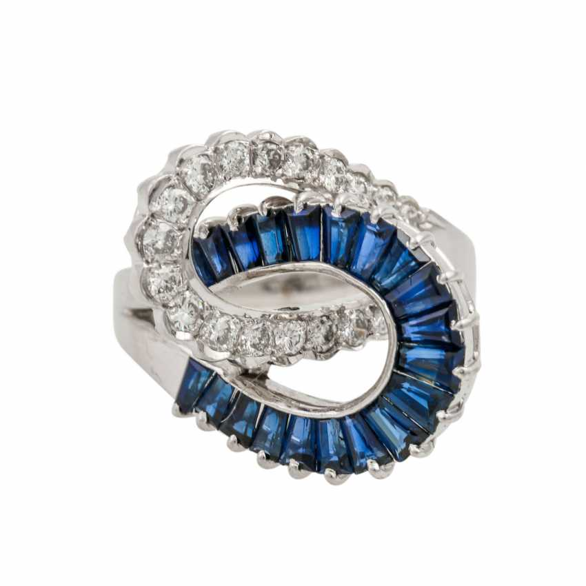 Ring with sapphires and diamonds, - photo 2