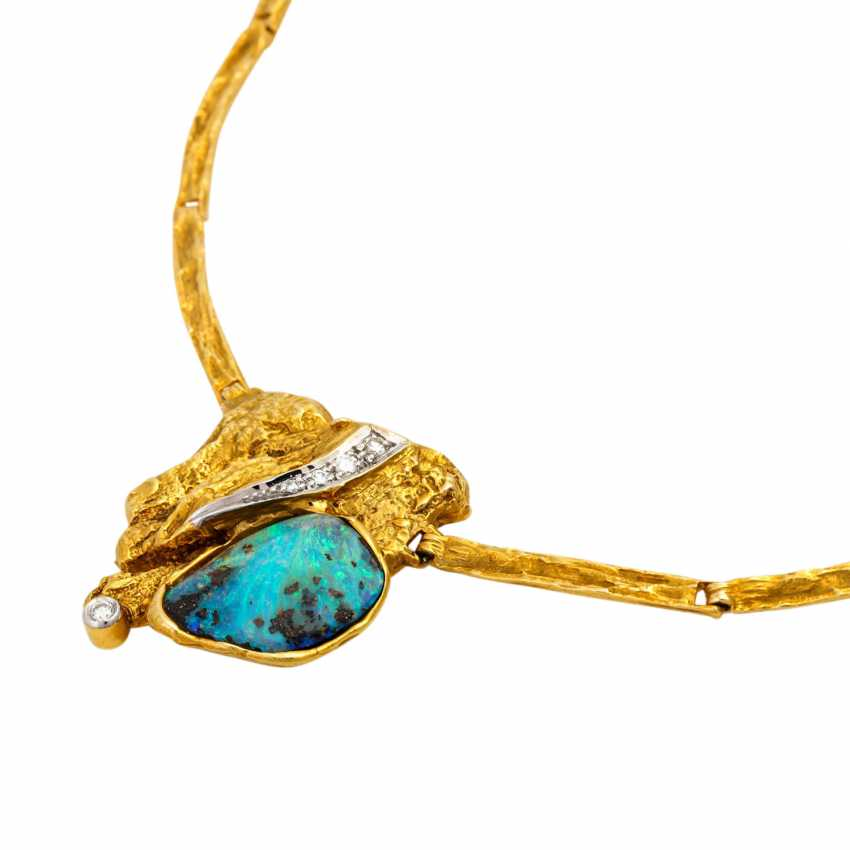 Necklace with boulder opal and diamonds - photo 4