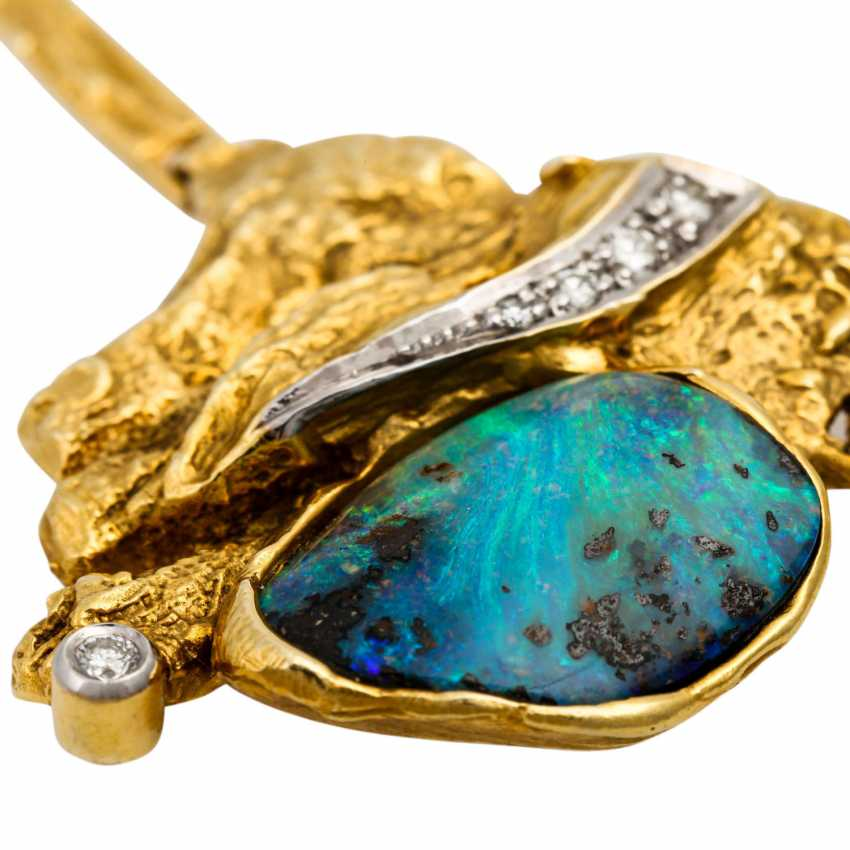 Necklace with boulder opal and diamonds - photo 6