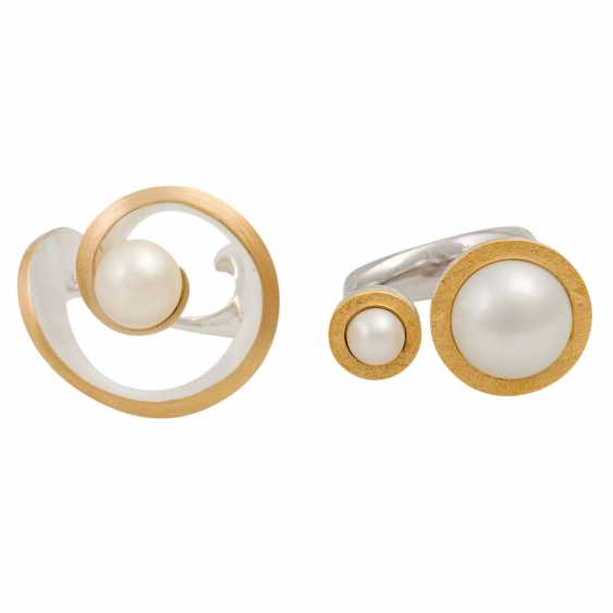 2 silver rings with cultured pearls, - photo 2