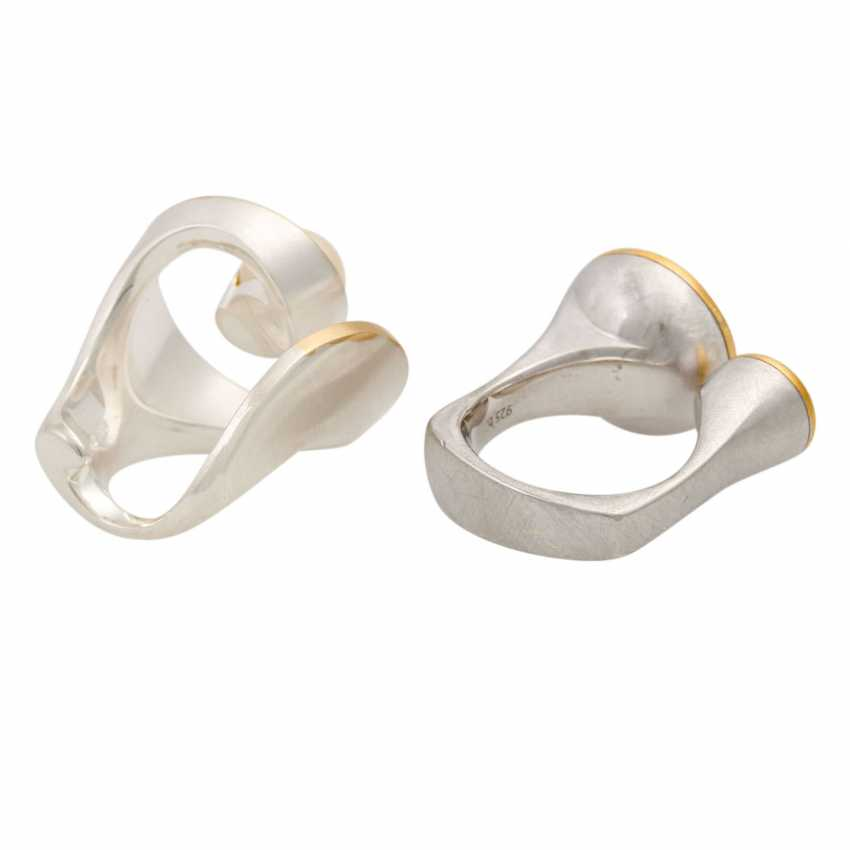 2 silver rings with cultured pearls, - photo 3