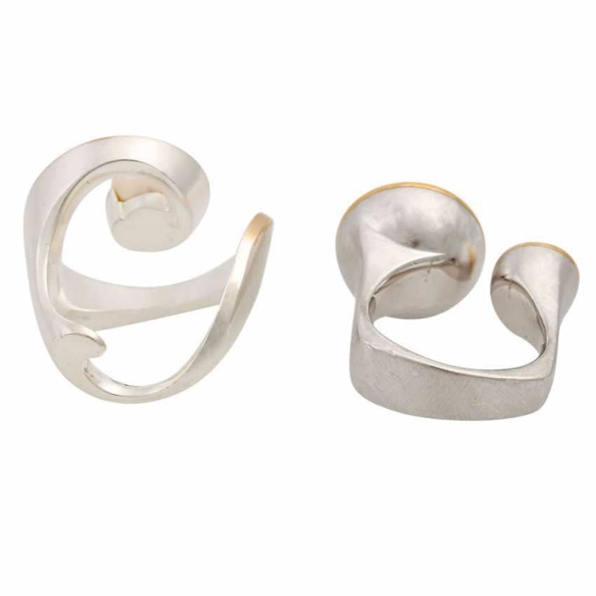 2 silver rings with cultured pearls, - photo 4